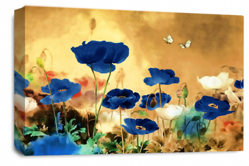 CHINESE FLORAL FLOWER CREAM BLUE BROWN PICTURE 30 x 20